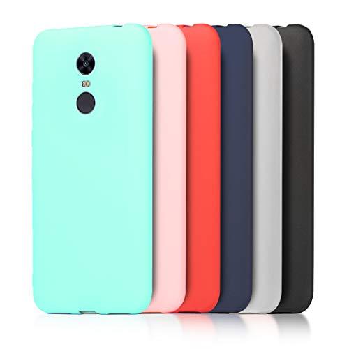 6 x Funda Xiaomi Redmi 5 Plus, Wanxideng Carcasa Suave Mate en Silicona TPU - Soft Silicone Case Cover [ Negro+ Rojo+ Azul Oscuro + Rosa + Verde Menta + Traslucido ]