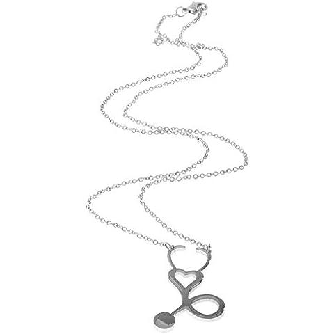Estetoscopio Médico Enfermera Colgante de Acero Inoxidable Collar Color Plata