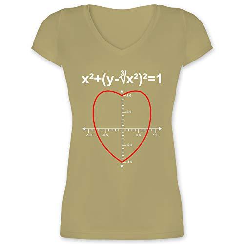 Valentinstag - Mathe Herz - L - Olivgrün - XO1525 - Damen T-Shirt mit V-Ausschnitt