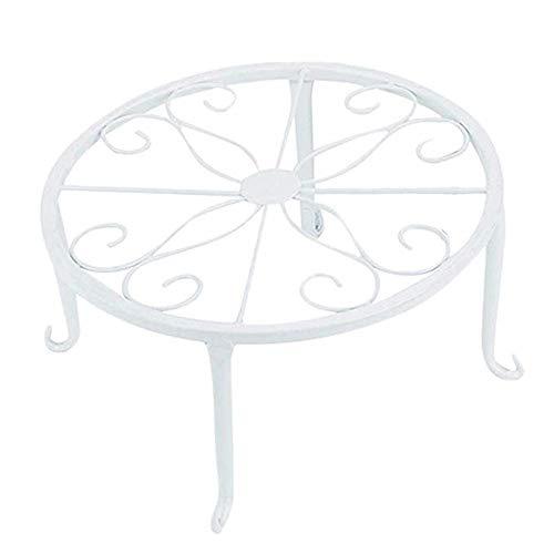 Schmiedeeisen Beistelltisch (Blumenregal aus Holz Metallpflanze Blumenständer Runder Beistelltisch Topfpflanze Ständer, Metallblumentopf Rack Runde Schmiedeeisen Blumentopf Halter, 9 Zoll ( Farbe : Weiß , Größe : 24*24*13cm ))