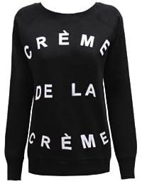 CANDYFLOSS LADIES CELEB BEYONCE CRÈME DE LA CRÈME SWEATSHIRT JUMPER BLACK 10