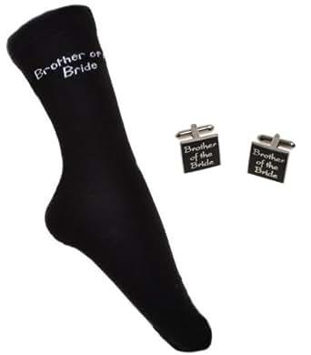 BROTHER OF THE BRIDE Wedding Socks & Cufflinks Set