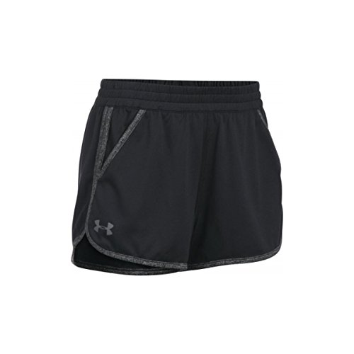 Under armour, tech short 2.0 twist, pantaloncini, donna, nero (black/black/graphite 001), s