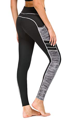 Flatik Damen Netzoberfläche Sport Gym Yoga Laufen Fitness Leggings Hose, Schwarz Grau(long Hosen), M