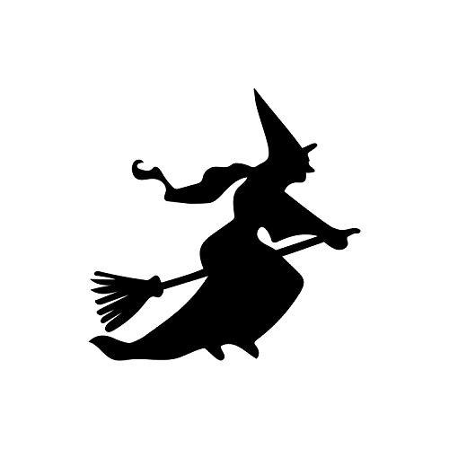 Wandtattoo aus Vinyl - Fliegende Hexe - 57,1 cm x 57,1 cm - lustige Gruselige Halloween-Dekoration - Teenager Erwachsene Innen Außen Wand Fenster Wohnzimmer Büro Decor (Halloween-dekorationen Meisten Scary Die)