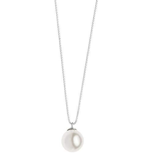 Collana in oro bianco e perla di comete da donna classico cod. glp 563