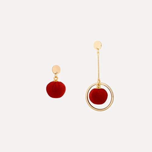 Persönlichkeits Gewebe Perlenohrringe Koreanische Temperament Rot Leise Elegant Asymmetrische Kleine Ohrringe Schmuck-Accessoires Weibliche