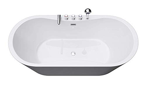 Freistehende Badewanne 180x80cm Sanitäracryl mit Armatur Standbadewanne V602MA Mai & Mai