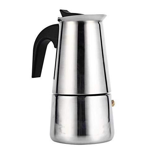 Cafetera de émbolo, cafetera italiana de acero inoxidable reutilizable con mango de baquelita (Moka Express para casa, oficina. 200ml