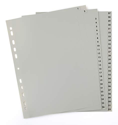 2er Set 52-teiliges Register/Trennblätter aus PP, DIN A4 mit Zahlen 1-26+27-52, volldeckend+praktischem Deckblatt aus stabilem Papier zum Beschriften. Trenn-Blätter für die Ordner-Organisation im Büro