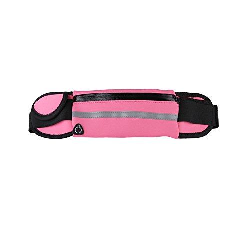 Marsupio sportivo, marsupio impermeabile con cerniera, tasche riflettenti e cinturino regolabile per viaggi sportivi o all'aperto iphone 6,7,8 plus(rosa)