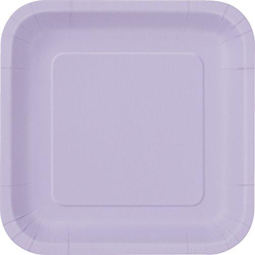 Unique Party Paquete de 16 platos cuadrados de papel Color lavanda 18 cm 31365