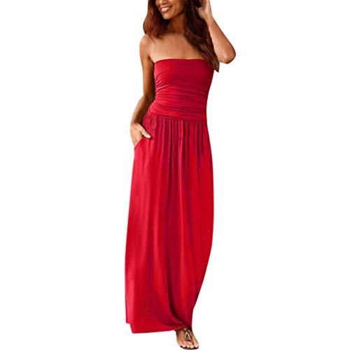BaZhaHei 2019 Sommer Damen Kleid Abendkleid Schulterfreies Cocktailkleid Bandeau Holiday Schulterfreies Langes Kleid Solides Maxikleid Elegant Festlich Partykleid