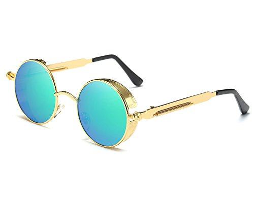 Runde Steampunk Polarisierte Sonnenbrille Metall Rand Rahmen Flip up Linse für Herren Damen UV400 (B/Gold/Grün, Polarisiert)