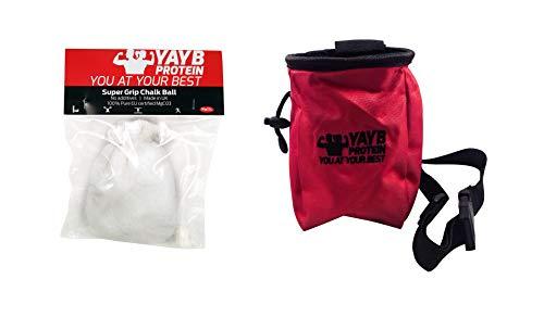 YAYB Pro Chalk Bag und nachfüllbarer Kreideball (Ultra reines Magnesiumcarbonat), mehrere Farben, für Training, Klettern, Bouldern - Verstellbarer Taillengürtel und Reißverschlusstasche, rot Singing Rock Chalk Bag