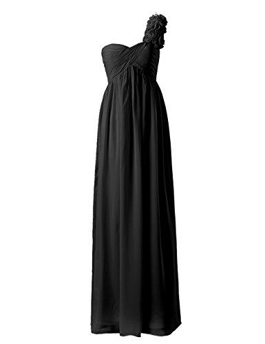 Dresstells, Epaule asymétrique robe de soirée , robe de cérémonie une ligne avec fleur, robe longue de demoiselle d'honneur Noir