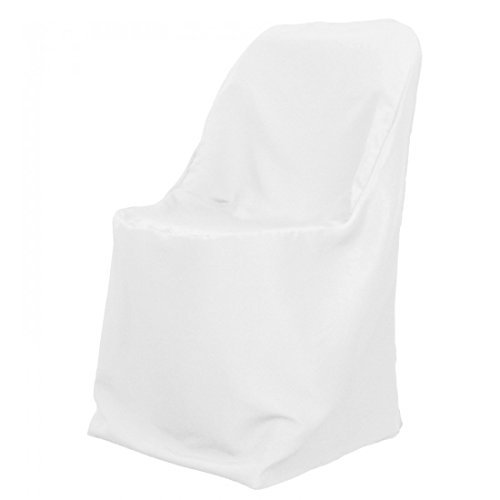 Craft And Party Premium Polyester Klappstuhl Abdeckung - für Hochzeit oder Bankett weiß - Polyester Klappstuhl Abdeckung