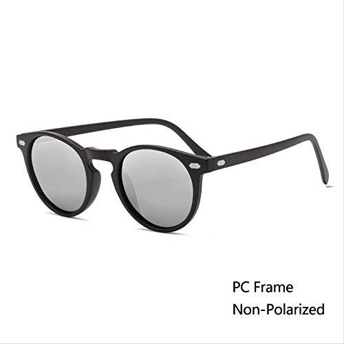 MJDL Mode Männer Polarisierte Sonnenbrille Frauen Runde Tac Objektiv Tr90 Rahmen Markendesigner Fahren Sonnenbrille Uv400 N4 Schwarz Quecksilber
