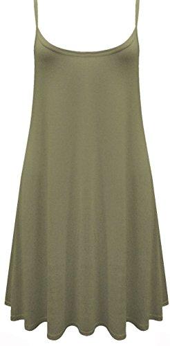 Funky Boutique Jupe Patineus'à bretelles pour femme Mini robe Cami Débardeur Swing : 8-26 Vert - Kaki