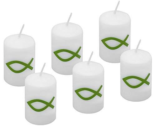 6 Votivkerzen Grün Fisch Kerze Kommunion Konfirmation Taufe Tischdeko Kerzendeko 60x40mm