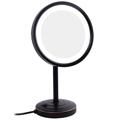 LIIYANN Spiegel-Countertop-Make-up mit Licht-Eitelkeit, justierbare Schönheit am besten für das Rasieren und Kosmetik (Farbe: Schwarz, Größe: 8,5 Zoll) -