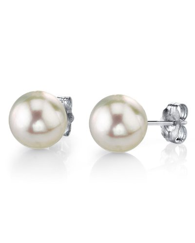11-12mm White South Sea Cultured Pearl Stud Earrings in 14K Gold - AAAA Quality