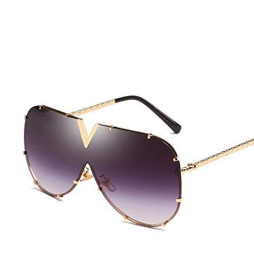 ZJWZ Europa und die Vereinigten Staaten New contrat Ocean Piece Sonnenbrille Trend Lady Metal Sonnenbrillen Big Box Sonnenbrille Männer,NO2