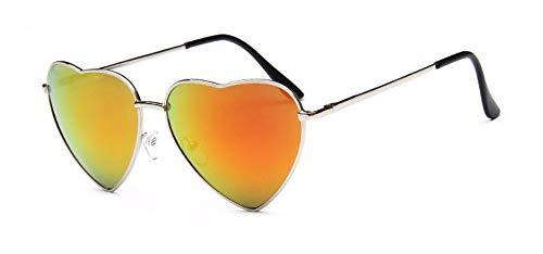 WSKPE Sonnenbrille Herz Sonnenbrille Elastizität Bein Metall Sonnenbrille Uv400 Silber Rahmen Orange Linse