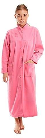 femmes CHAUDE POLAIRE MANCHES LONGUES & bouton poches devant souple Robe de chambre veste - Rose, 14 / 16
