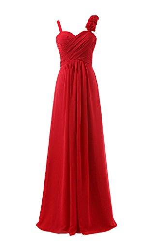 Royaldress Herrlich Ein-traeger Stoffblumen Abendkleider Partykleider Brautjungfernkleider Lang A-linie Festlich Rot