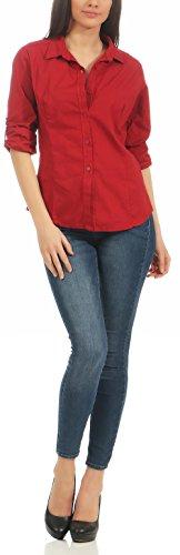 malito Camicia Casuali Camicetta Maniche Lunghe Pulsanti Shirt Top Classico 8030 Donna Rosso