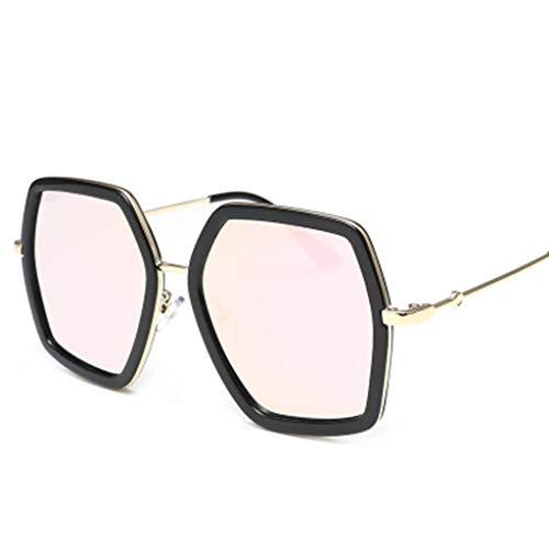 fazry Unisex Jahrgang Metall Groß irregulär Rahmen UV-Schutz Sonnenbrille (Rosa)