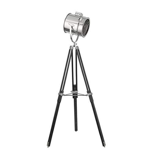 Designer Strahler aus Metall, chrom, schwarz, Höhe 162cm, E27 max. 60W, Stehleuchte Stehlampe Wohnzimmerlampe