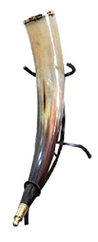 Nordic Drinkware Wikinger-Horn - Flocken-Art-Design - 454 g mittelalterliches natürliches Horn handgefertigt mit Eisen-Ständer - verschiedene Farben