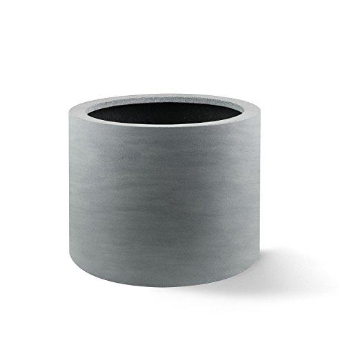 """Pflanzkübel """"Argento Cylinder"""" Betongrau Rund Fiberglas *5 Jahre Garantie* - 48x48x30cm - F1113"""