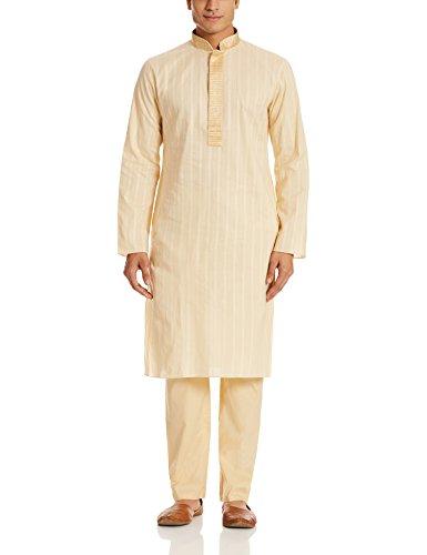 Manyavar Men's Cotton Kurta Pyjama (8903035114112_M301048-104-M_Beige)