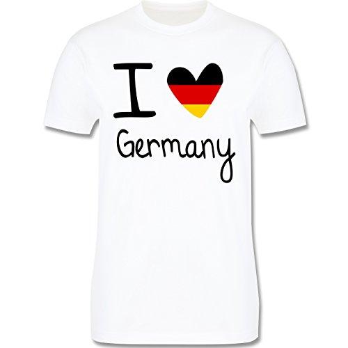 Fußball-Weltmeisterschaft 2018 - I Love Germany - M - Weiß - L190 - Herren T-Shirt Rundhals