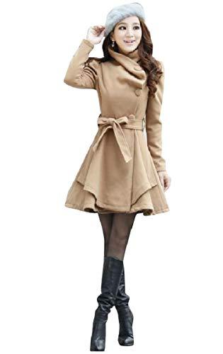 CuteRose Women's Peplum Belt Wool Blends Long Single Breasted Worsted Coat Khaki S -