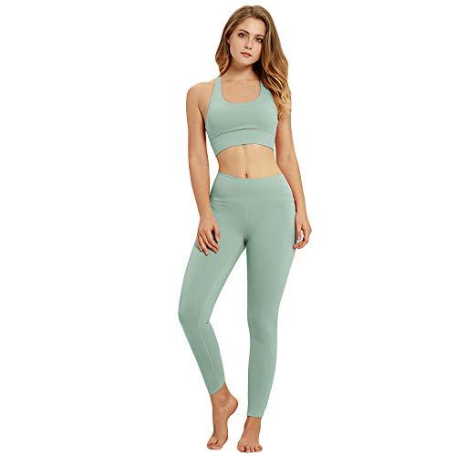 FIYOMET Sport Yoga Anzug für Frauen Zwei Stück BH und Hohe Taille Leggings Einfarbig Workout Set Fitness Laufbekleidung