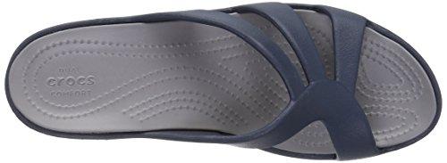 Crocs Sanrah Strappy Wedge Nvy / Smo, Sandales Compensées Femmes Bleu (marine / Fumée)