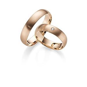 333 GOLD Rotgold Trauringe Paarpreis – Rubin Juwelier- inkl Gravur und Stein Matt