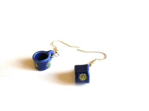 English Gems in ceramica, colore: Blu tè in miniatura-Orecchini a pendente placcati argento, con confezione regalo