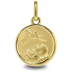 BAPTEME - Médaille Religieuse - Or Jaune 18 carats - Diamètre: 14 mm - www.diamants-perles.com