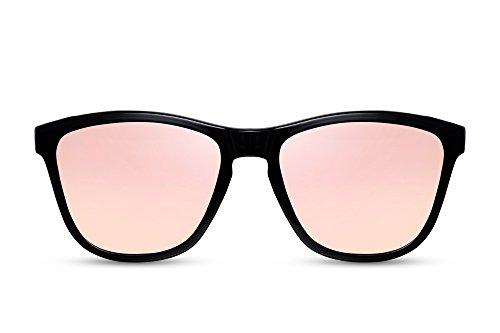 Cheapass Sonnenbrille Verspiegelt Schwarz Rosé-Gold UV-400 Festival-Brille Hipster Plastik Damen Herren