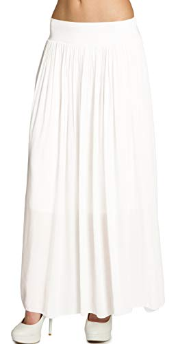 CASPAR RO012 Leichter Langer Damen Sommerrock, Farbe:Weiss;Größe:One Size