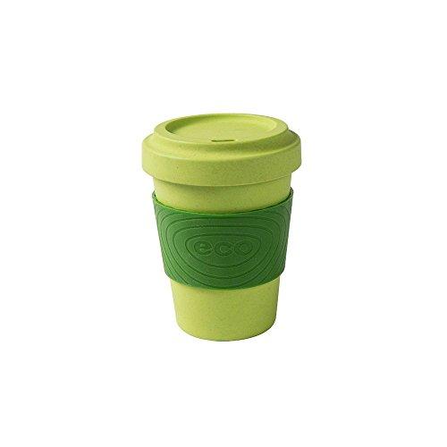 BIOZOYG Coffee to go Becher mit Schraubdeckel und Silikonmanschette I Bambus Kaffeebecher Mehrwegbecher Bio Bambus Geschirr Spülmaschinenfest BPA frei Getränkebecher I grün 300 ml