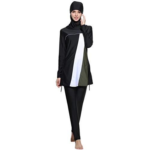 Lannister Muslim Bademode Fmuslim Bademode Beachwear Frauen Islamische Kleidung Schwimmen Badeanzug Festlich Bekleidung Für Mädchen Hijab (Color : Schwarz, Size : XL)