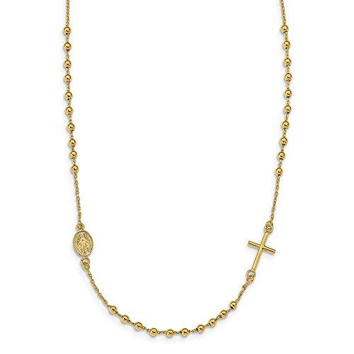 Preisvergleich Produktbild Leslie 's 14K Gelb Gold Poliert Seitwärts Kreuz Perlen Rosenkranz Stil Halskette lf1139–16,5