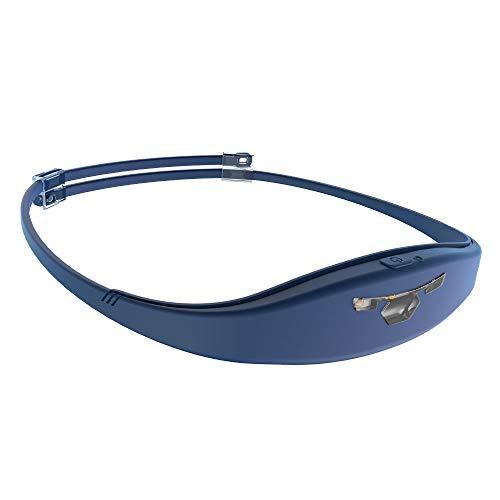 Alphatec USB Wiederaufladbare LED Stirnlampe Kopflampe 120 Lumen Spritzwassergeschütztes IP67 Leichtgewichts nur 45 Gramm Integriertes Silikon-Schweißband Perfekt fürs Trailrunning,Joggen,Campen,Blau