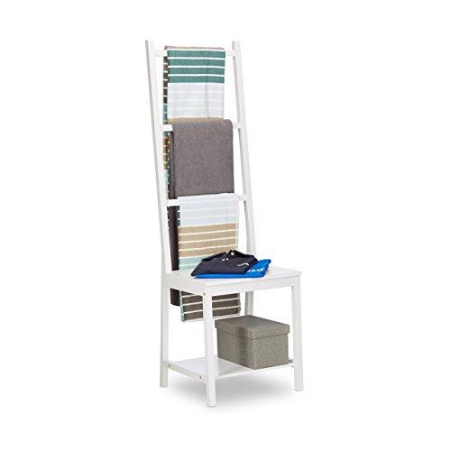 Relaxdays Handtuchhalter, Kleiderständer, Handtuchständer, Herrendiener, Badstuhl, Bambus, HxBxT: 133 x 40 x 42 cm, weiß